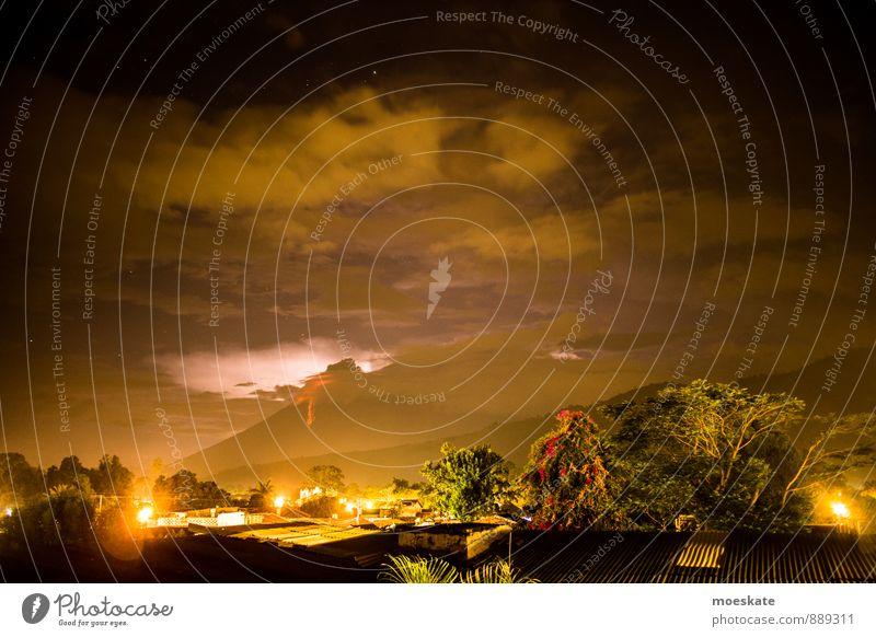 Volcanic eruption Guatemala Thunder and lightning Lightning Volcano Volcan De Fuego Dark Fire Stream of lava Lava Sky Night sky Antigua Guatemala Subdued colour