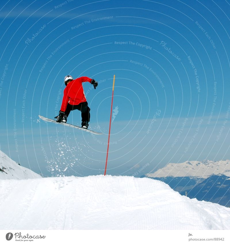 *jump* Snowboard Jump Red France Winter sports Blue Sky Mountain Alps Les 3 Vallées Meribel-Mottaret Snowboard Park Fun park Tall Touch Body control Brave