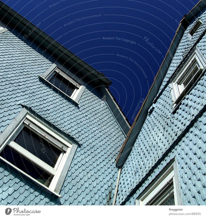 Blue House (Residential Structure) Window Architecture Light blue Asymmetry