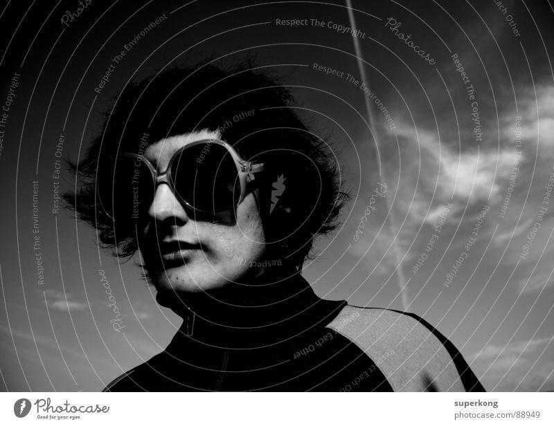 amelie Retro Lifestyle Accessory Design Designer glasses Exterior shot Copy Space right Neutral Background Woman`s head Face of a woman Portrait photograph