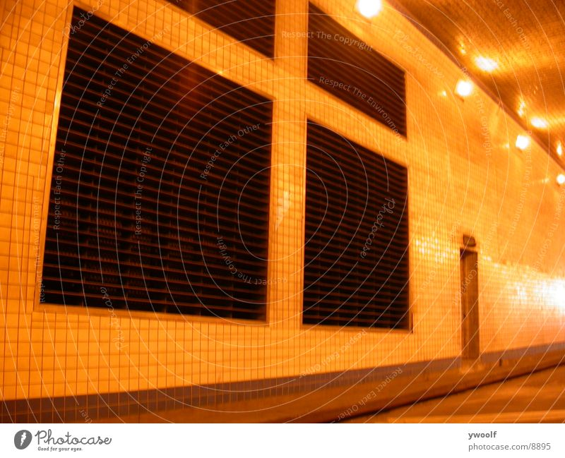 Wall In Lincoln Tunnel, New York Underground Ventilation Vent slot Ventilation shaft Deserted Artificial light Lighting Central perspective Ventilation flap