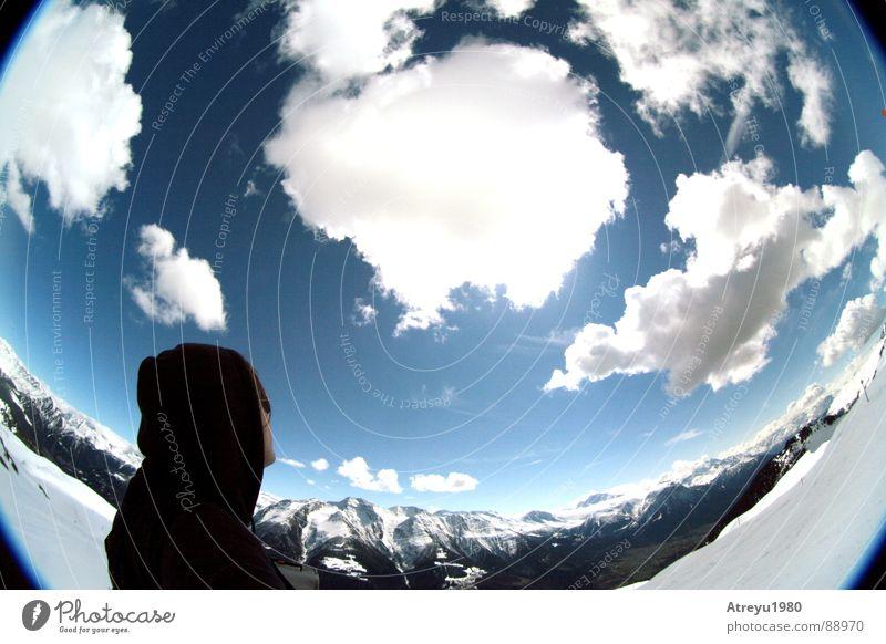 Sky Vacation & Travel Clouds Snow Mountain Alps Vantage point Switzerland Valley Ski run Rest