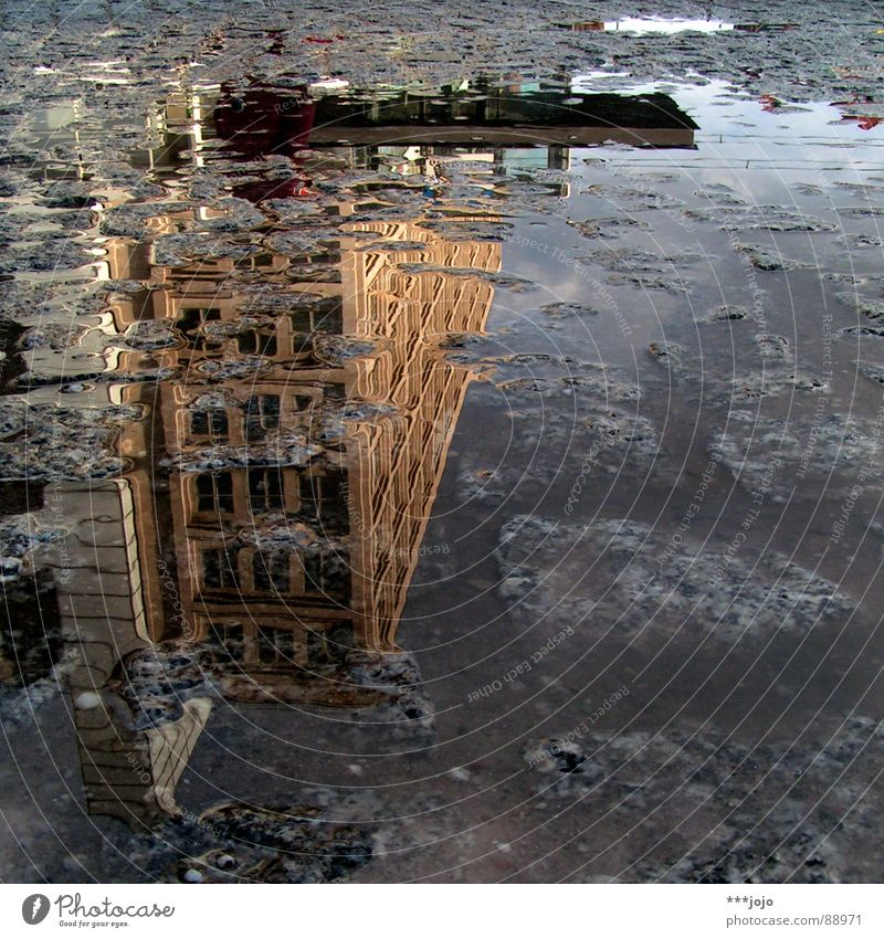 pfuetze berlin II Mirror image Berlin Pavement Puddle House (Residential Structure) On the head Go crazy Alexanderplatz Places Middle Crazy Water
