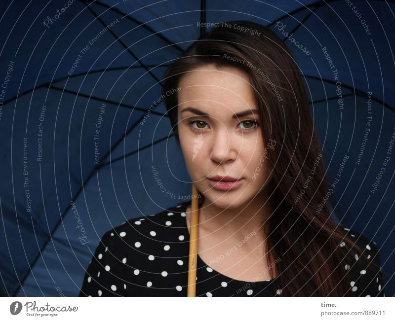 . Feminine 1 Human being 18 - 30 years Youth (Young adults) Adults Dress Umbrella Brunette Long-haired Observe Looking Curiosity Beautiful Caution Serene