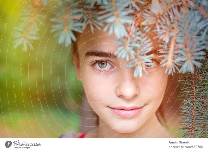 Portrait - Hidden - Fir needles Lifestyle Beautiful Healthy Harmonious Contentment Feminine Woman Adults Youth (Young adults) Head Eyes 1 Human being