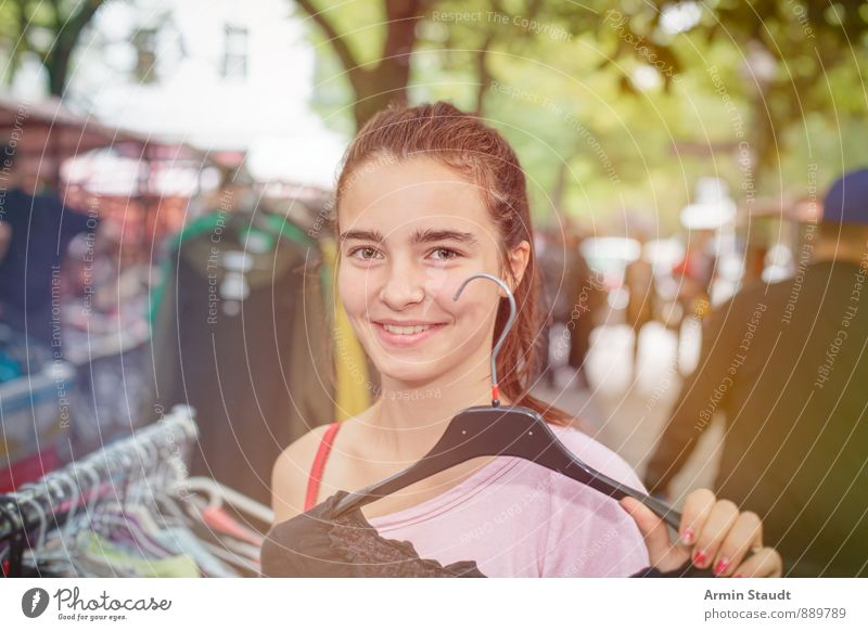 clothes purchase Lifestyle Shopping Joy Human being Feminine Youth (Young adults) Hand 1 13 - 18 years Child Kreuzberg Pedestrian precinct Populated Hanger