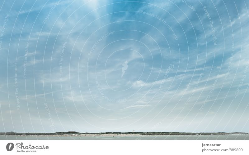 Cloud play on Langeoog Nature Landscape Sand Sky Clouds Sun Summer Moody Beach Dune Far-off places Veil of cloud Relaxation Horizon Colour photo Exterior shot