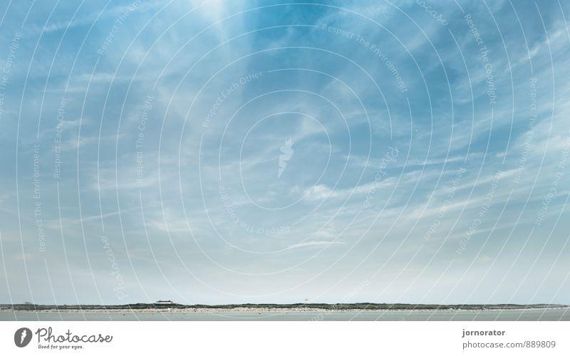 Sky Nature Summer Sun Landscape Relaxation Clouds Far-off places Beach Moody Sand Horizon Dune Langeoog Veil of cloud
