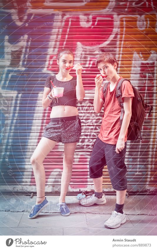 Human being Woman Child Vacation & Travel Youth (Young adults) Man Joy Adults Graffiti Emotions Feminine Eating Masculine Facade Lifestyle Contentment