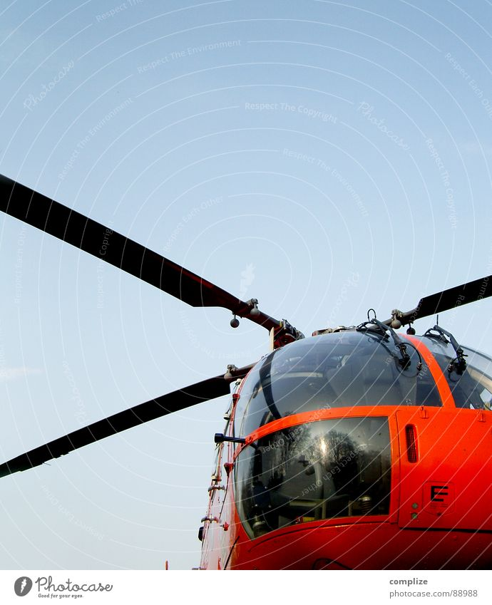 so´n flight stuff Helicopter Airplane Rescue helicopter Emergency doctor Aircraft Red Electrical equipment Technology Aviation Obscure Sky Blue Orange Rotor