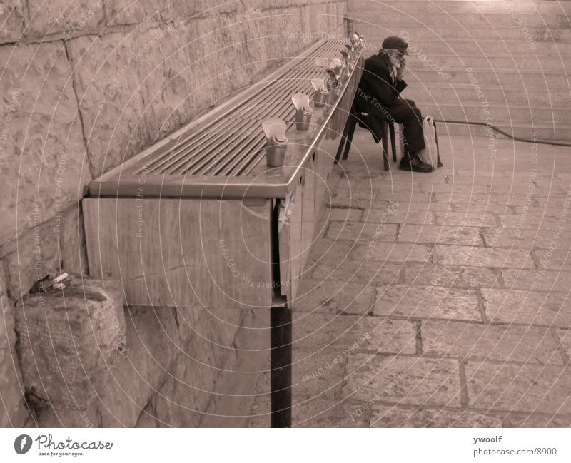 old man in Jerusalem Senior citizen Man West Jerusalem Israel Human being Male senior Well Drinking water Sit Colour photo 1