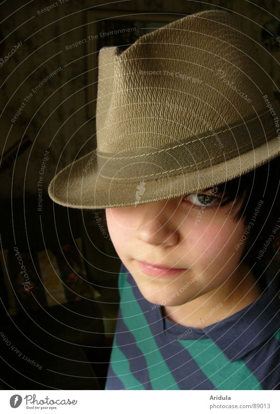 opas hat Child Portrait photograph Posture Looking Obscure Hat Face Eyes Cool (slang) Boy (child)