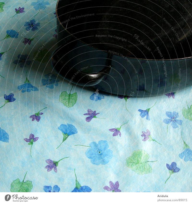 Flower Blue Black Blossom Table Kitchen Obscure Smooth Blanket Pot