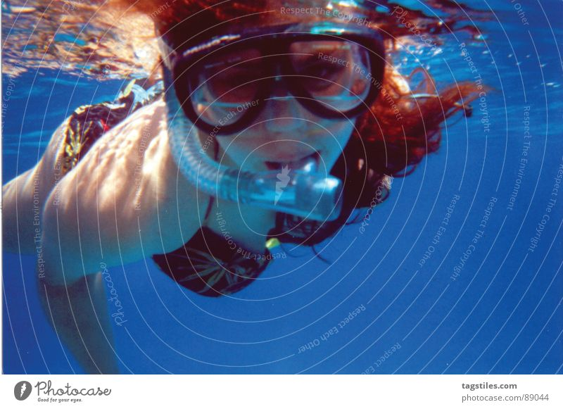 Woman Water Ocean Blue Red Summer Vacation & Travel Relaxation Eyeglasses Contact Mirror Discover Deep Egypt Refraction