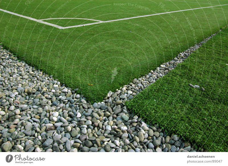 Corner without flag Playing field Background picture Artificial lawn Abstract Empty Green Gray Pattern Traffic infrastructure Leisure and hobbies Ball sports