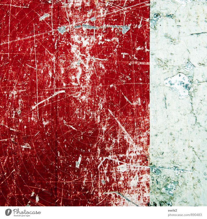 life experience Old Gray Red White Colour Decline Transience Lose Destruction Scratch mark Abrasion Ravages of time Derelict Damage Tracks Road sign Copy Space