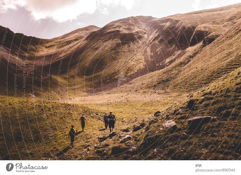 Human being Nature Summer Clouds Mountain Sports Group Rock Leisure and hobbies Hiking Tall Beautiful weather Fitness Peak Alps Climbing
