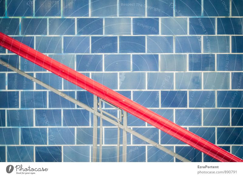 Blue Red House (Residential Structure) Wall (building) Architecture Wall (barrier) Line Facade Design Esthetic Illustration Handrail To hold on