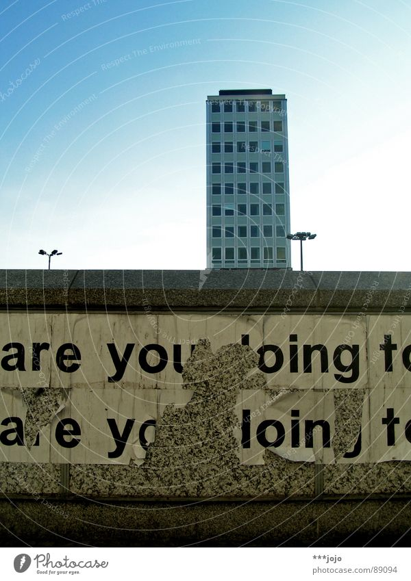 Sky Blue City Berlin Wall (barrier) Building Modern High-rise Characters Gloomy Construction site Letters (alphabet) Lantern Box Typography GDR