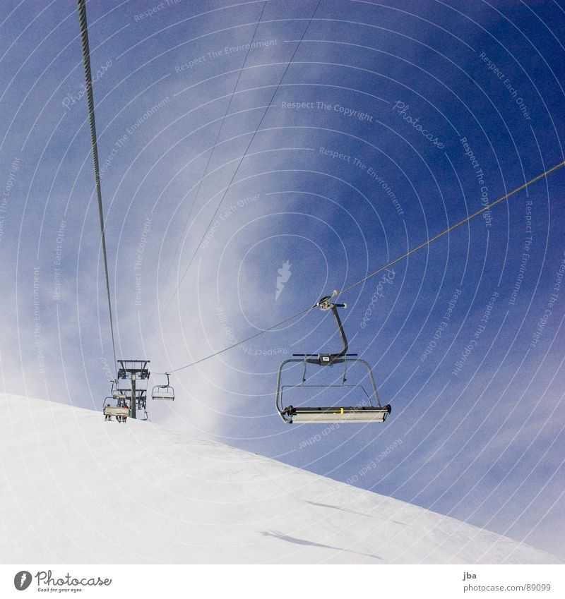 Winter Clouds Far-off places Snow Mountain Rope Railroad Sit Empty Driving Open Cable Diagonal Electricity pylon Seating Armchair