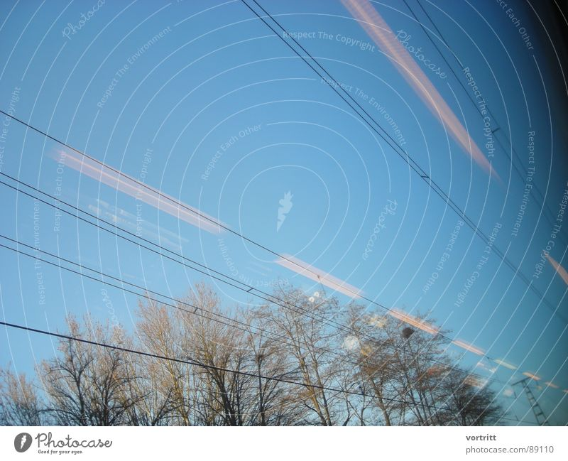 Air draft IV Railroad Speed Tree Window Electricity Light Reflection Industry Sky Transmission lines