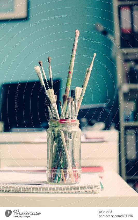 malmalwieda Art Artist Painter Blue Multicoloured Paintbrush Glass Desk Work and employment Painting (action, work) Creativity Inspiration Paints and varnish