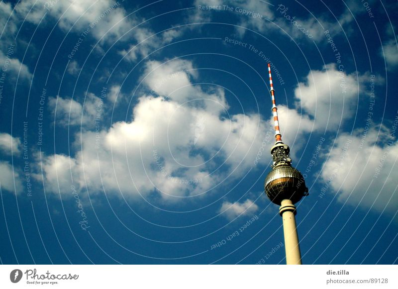 Sky Blue Summer Clouds Berlin Tower Point Middle Sphere Downtown Berlin TV Tower Alexanderplatz Asparagus