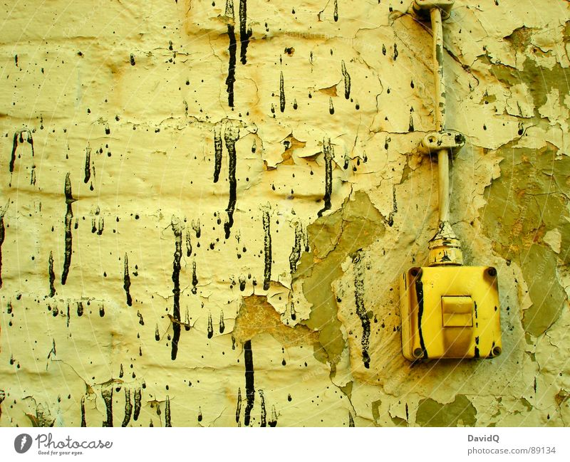 on/off Dirty Wall (building) Flaked off Black Sprinkled Light switch Plaster Wall (barrier) Derelict Old with Colour and 1 lacquer Cable Rust paint splashes