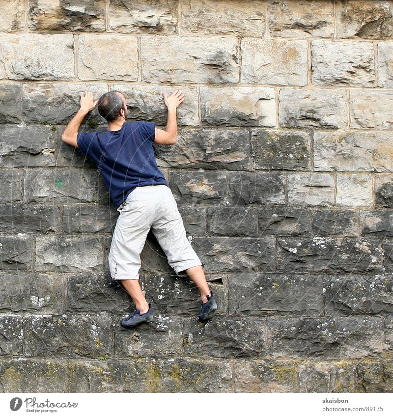 climb Leisure and hobbies Playing Freedom Mountain Feasts & Celebrations Climbing Mountaineering Man Adults Arm Legs Wall (barrier) Wall (building)