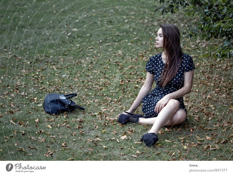 Human being Youth (Young adults) Beautiful Tree Relaxation Calm Leaf 18 - 30 years Adults Meadow Feminine Park Elegant Sit Wait Esthetic