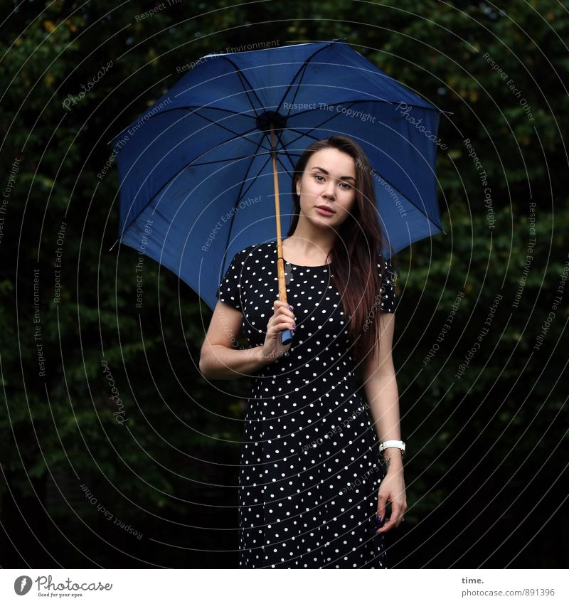 . Feminine Young woman Youth (Young adults) 1 Human being 18 - 30 years Adults Park Forest Dress Umbrella Brunette Long-haired Observe To hold on Looking Stand