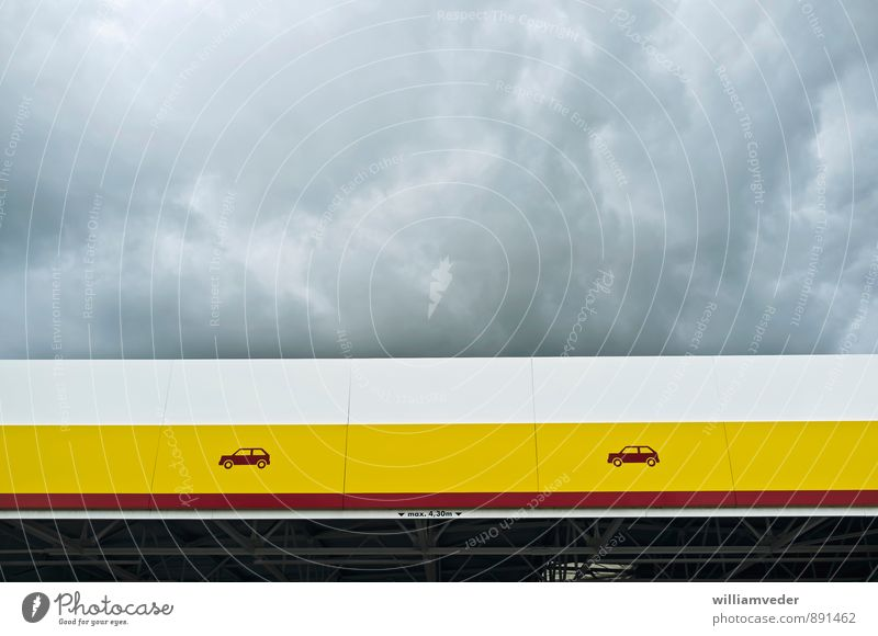 Canopy in yellow, red and white with cloudy sky Sky Storm clouds Manmade structures Building Architecture Roof Yellow Gray Red Refuel Car Petrol station