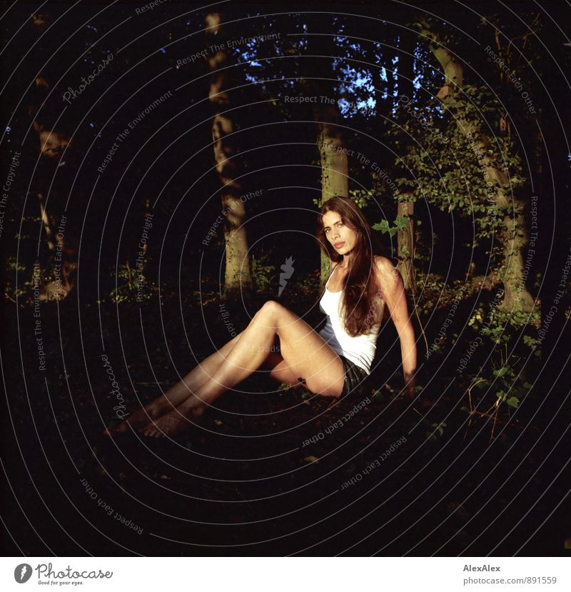 young beautiful long legged athletic woman sits barefoot in a clearing in the woods in the setting sun Trip Summer Young woman Youth (Young adults) Body Legs