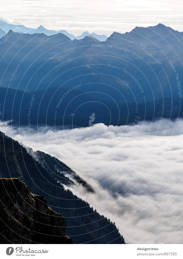 Silent roar Mountain Environment Nature Landscape Elements Air Clouds Climate Weather Beautiful weather Fog Rock Alps Peak Coast Ocean Surf Cloud field Flying