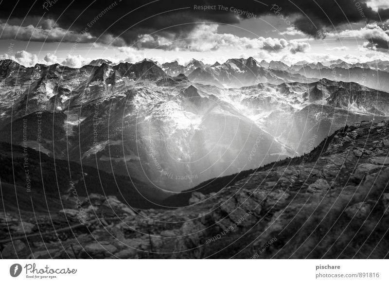 Chillertal Nature Landscape Clouds Storm clouds Bad weather Mountain Peak Threat Dark Adventure Zillertal Federal State of Tyrol Black & white photo