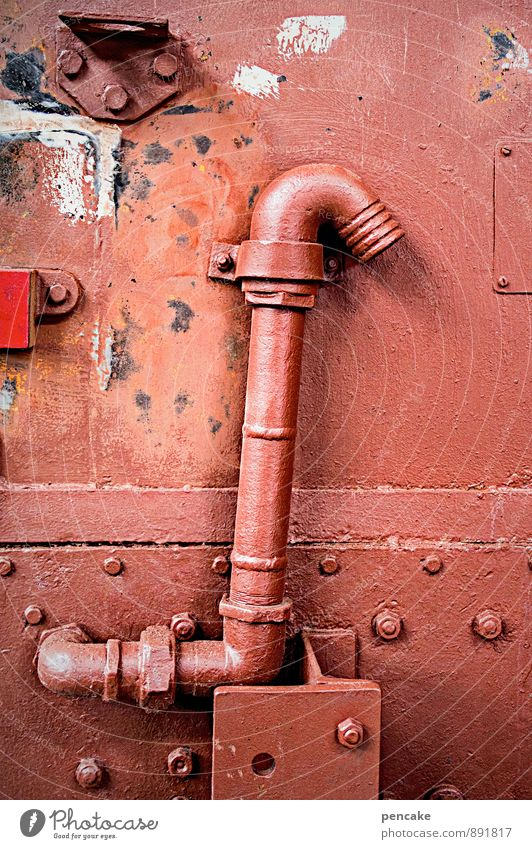 Such a pipe. Technology Rail transport Steamlocomotive Authentic Strong Brown Red Iron-pipe Rivet Varnished Curved Old Retro Engines Installations Historic