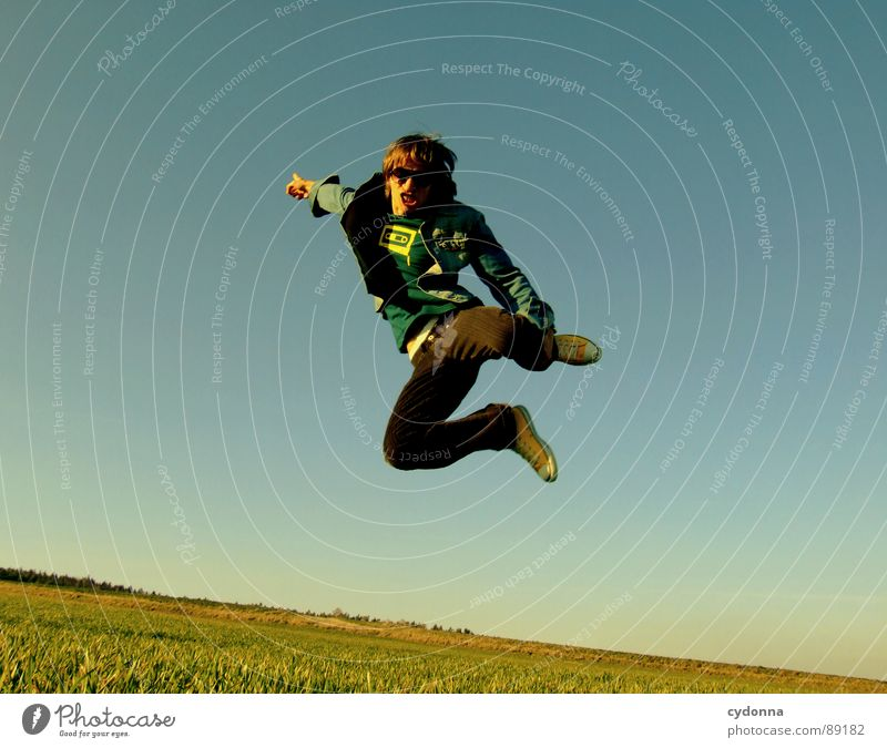 Jump into the field! VIII Hop Spring Meadow Grass Green Style Sunset Posture Blade of grass Worm's-eye view Sunbeam Kick Martial arts Man Fellow Field Straddle