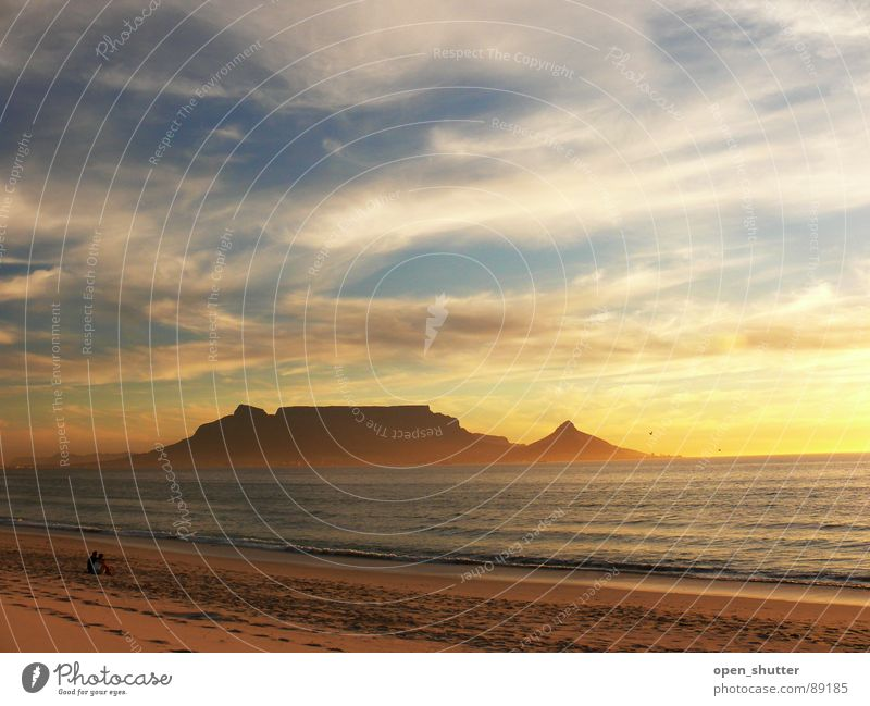 Table Mountain, Cape Town, South Africa Sunset Beach Summer Sky Ocean Coast table mountain clouds sea romance landmark famous SA