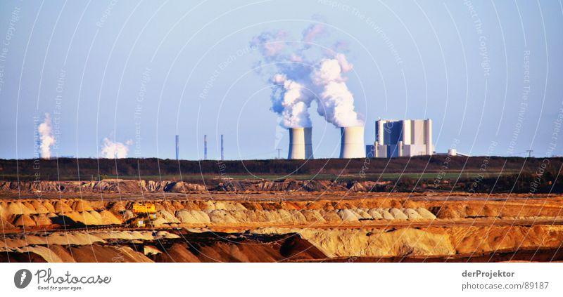 Sky White Blue Sand Brown Earth Industry Coal Destruction Environmental pollution Electricity generating station Mining Lignite Coal power station Lunar landscape