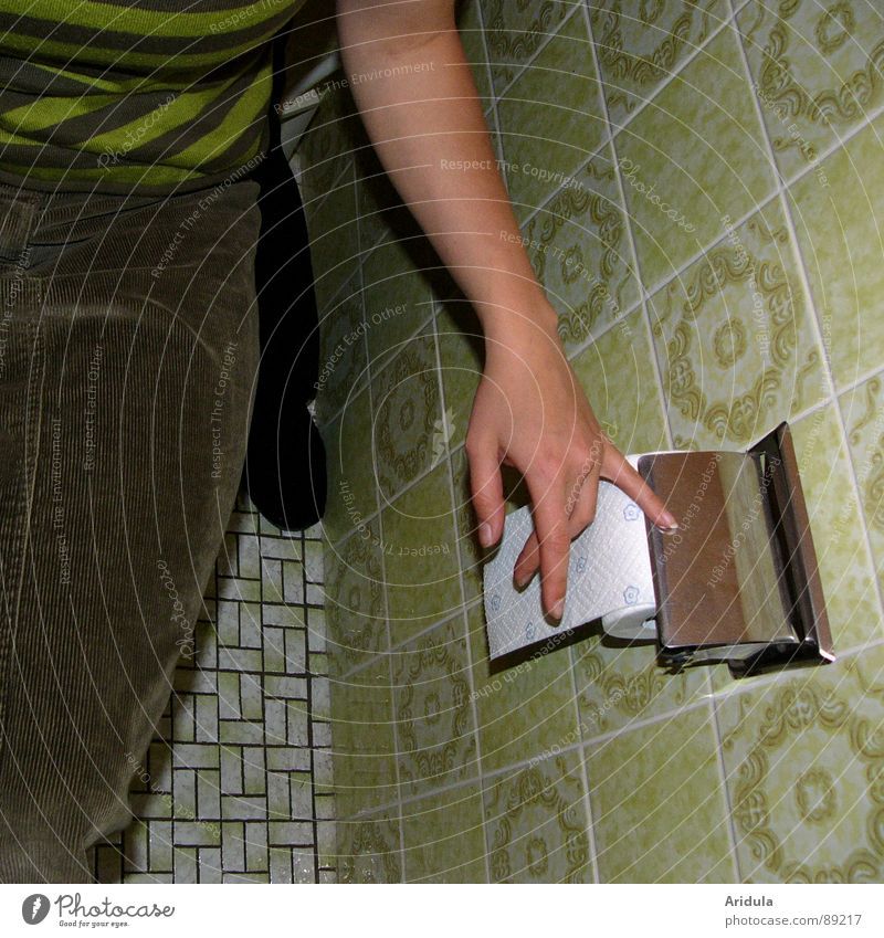 Hand Old Green Arm Sit Paper Bathroom Toilet Tile Obscure Coil Toilet paper