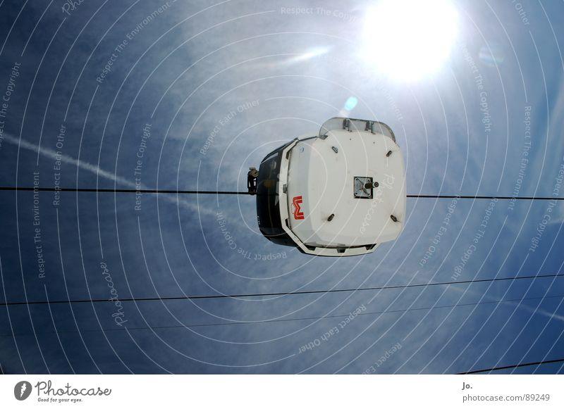 Sky Blue Sun Steel cable Upward Horizontal Gondola Skyward Bright background