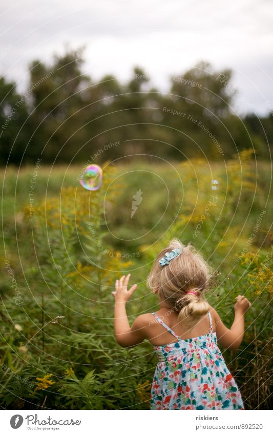 soap bubble trap Human being Feminine Child Girl Infancy 1 3 - 8 years Environment Nature Summer Beautiful weather Garden Meadow Discover Relaxation Catch