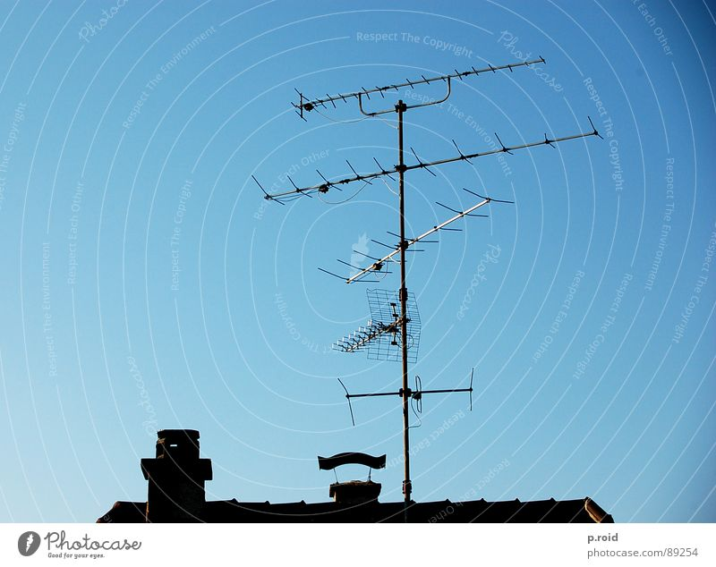 over the roofs. Antenna House (Residential Structure) Roof Television Brick Broacaster Top Summer Sky Chimney Clarity Blue Skyline Silhouette