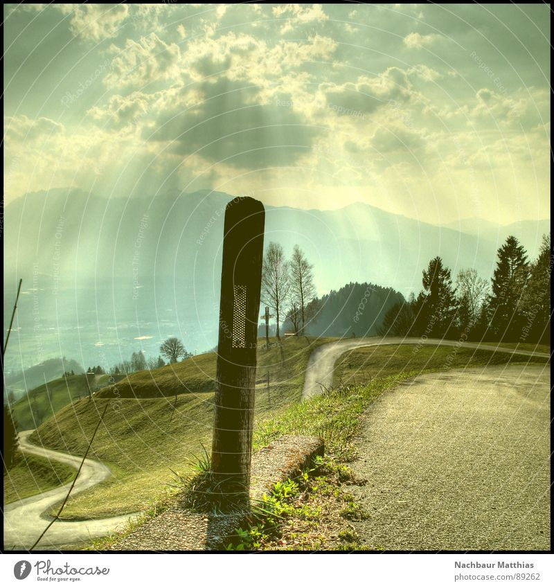 holy post Forest Meadow Fence Green Tree Sun Air HDR Clouds Relaxation Calm Hope Awareness Roadside Footpath Milestone Reflector Sky Summer Nature