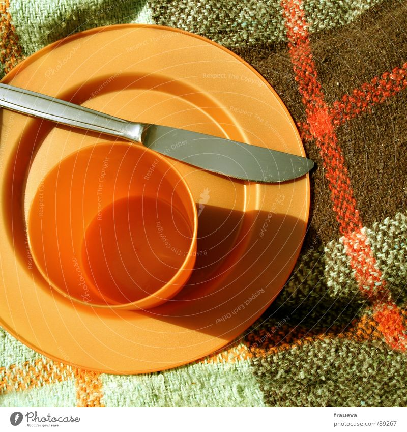 tupperware party. Picnic Plate Tupperware Checkered Meal Mug Summer Retro Seventies Kitchen Nutrition Colour Statue Knives Blanket sun eat knife dish blank