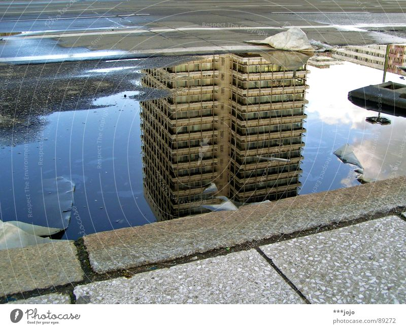 underwater Puddle Berlin Curbside Wet High-rise Alexanderplatz Goods House (Residential Structure) Town Trash Go crazy Water yes sorry - again a puddle GDR