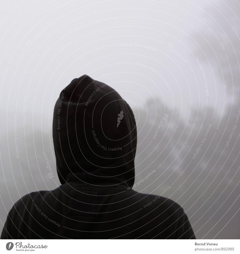 Human being Man Plant Tree Black Adults Autumn Emotions Gray Moody Head Masculine Weather Fog Gloomy Bushes