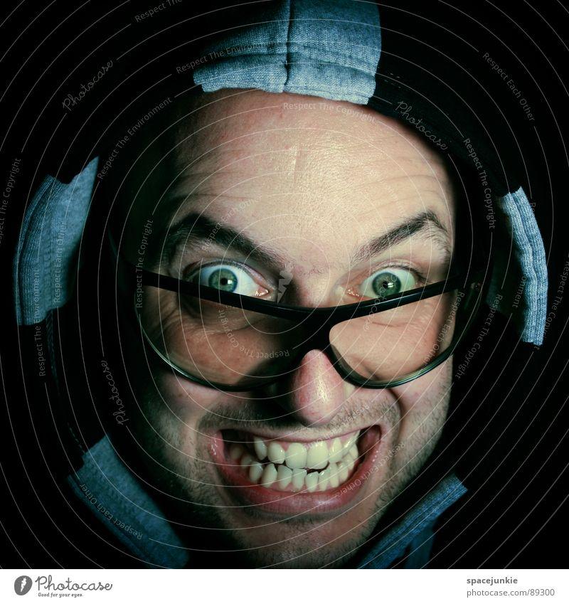 FREAK Man Portrait photograph Crazy Whimsical Eyeglasses Sunglasses Sweater Face Freak Joy Hooded (clothing) hoodie Looking
