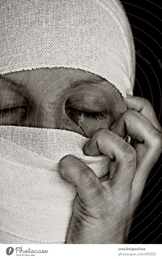 libéré Illness Cloth White Grief Pain Fear Distress Obsessed Cramped Anguish Bandage mummy Colour photo Portrait photograph Black & white photo Copy Space top