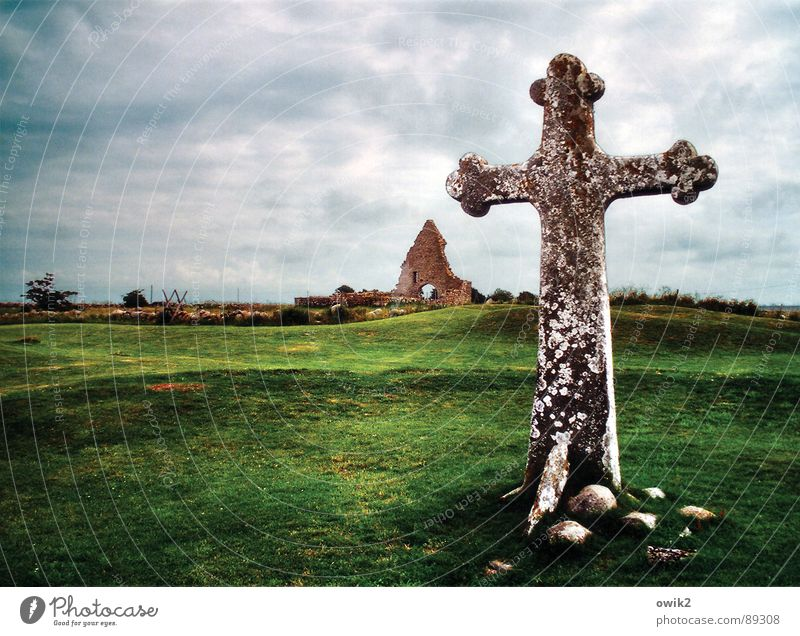 Swedish Historic Preservation Back Landscape Sky Clouds Climate Weather Bad weather Grass Oeland Northern Europe Ruin church ruin Tourist Attraction Landmark